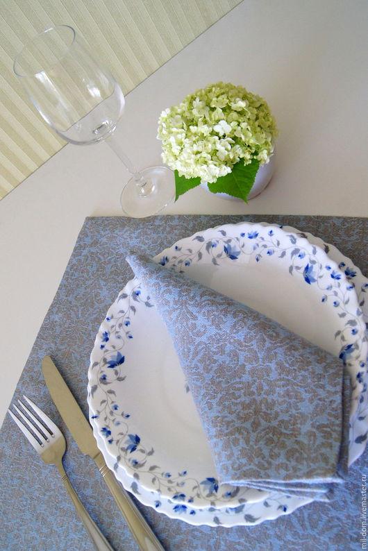 """Кухня ручной работы. Ярмарка Мастеров - ручная работа. Купить Набор льняных салфеток """"Небо голубое"""". Handmade. Голубой, лён"""