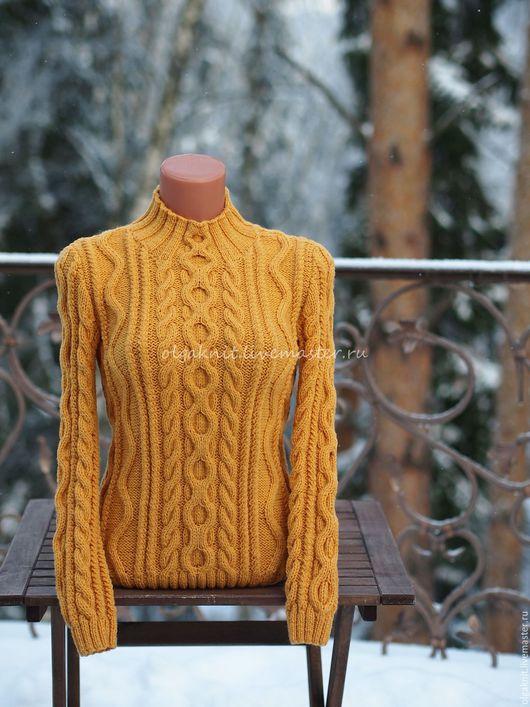 Кофты и свитера ручной работы. Ярмарка Мастеров - ручная работа. Купить Желтый свитер из мериносовой шерсти. Handmade. Желтый