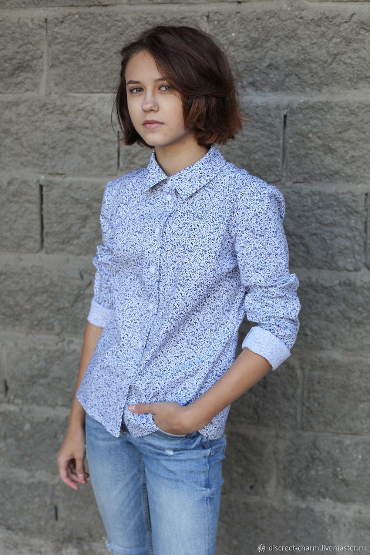 Хлопковая рубашка в сине-голубые цветы, школьная, Блузки, Томск,  Фото №1