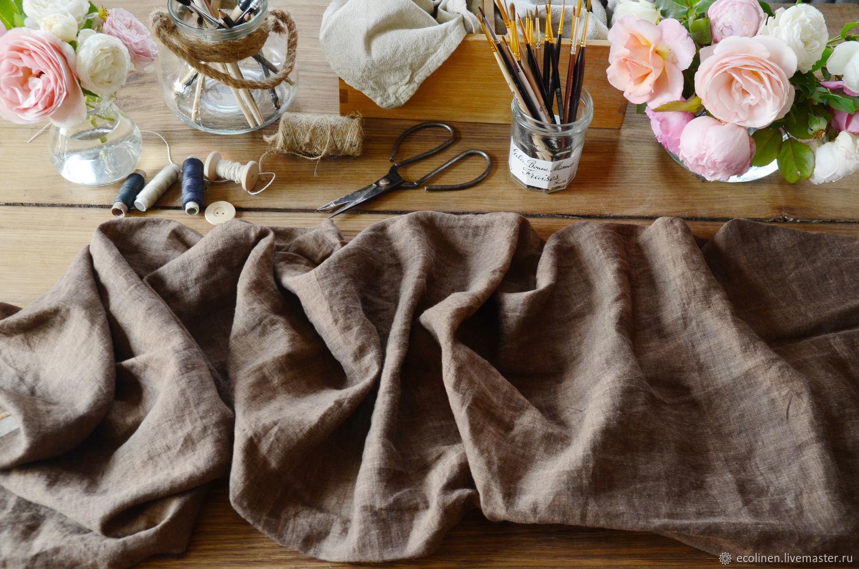 Linen fabric. 260 cm. 100% Linen. brown. Softened, Fabric, Minsk,  Фото №1