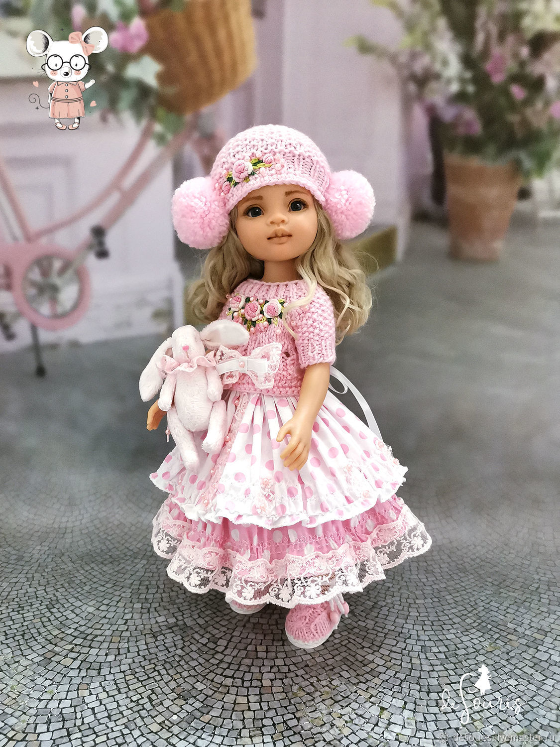 Clothes for Paola Reina dolls. New pink set with Bunny, Clothes for dolls, Voronezh,  Фото №1