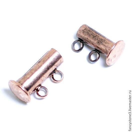 Для украшений ручной работы. Ярмарка Мастеров - ручная работа. Купить Замок магнитный слайдер на две нити, медь, для украшений. Handmade.