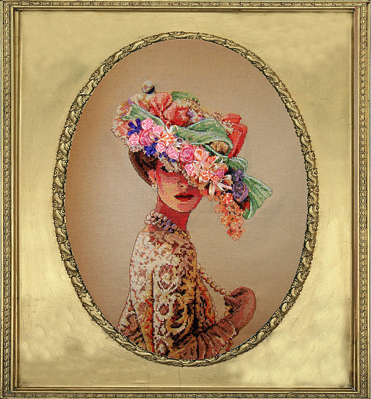 Люди, ручной работы. Ярмарка Мастеров - ручная работа. Купить Викторианская элегантность. Handmade. Бежевый, Вышивка бисером, вышитые картины