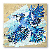 Картины и панно handmade. Livemaster - original item painting on wood, Blue Jay. Handmade.