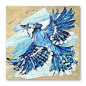 handmade. Livemaster - original item painting on wood, Blue Jay. Handmade.