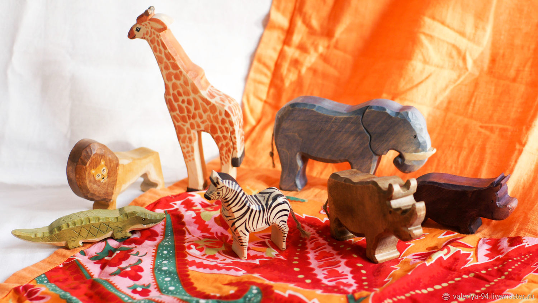"""Большой набор """"Африканские друзья"""", Вальдорфские куклы и звери, Суоярви,  Фото №1"""
