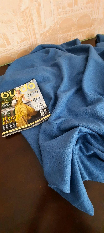 Ткань лоден ,вареная шерсть , цвет джинсовый, Ткани, Москва,  Фото №1