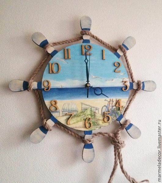"""Часы для дома ручной работы. Ярмарка Мастеров - ручная работа. Купить Часы настенные в морском стиле """"Безмятежность"""". Handmade. Часы"""
