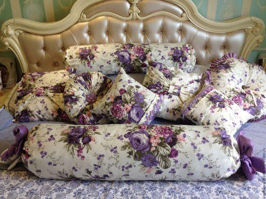 Текстиль, ковры ручной работы. Ярмарка Мастеров - ручная работа. Купить Изумительные интерьерные подушки. Handmade. Тёмно-фиолетовый, белая