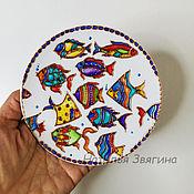 Посуда handmade. Livemaster - original item Decorative Fish Plate. Hand painted. Gift.. Handmade.