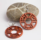 Украшения handmade. Livemaster - original item Round wooden earrings. Handmade.