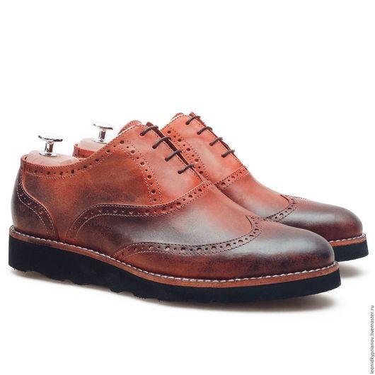 Обувь ручной работы. Ярмарка Мастеров - ручная работа. Купить Модель - Brogues на подошве Vibram. Handmade. Коричневый, туфли