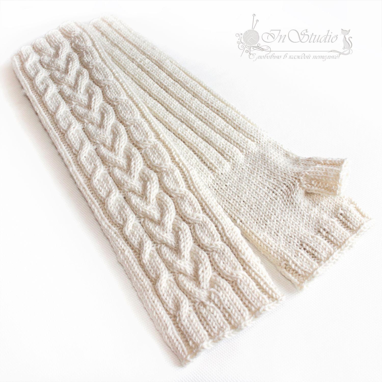 Вязание митенок спицами с косами