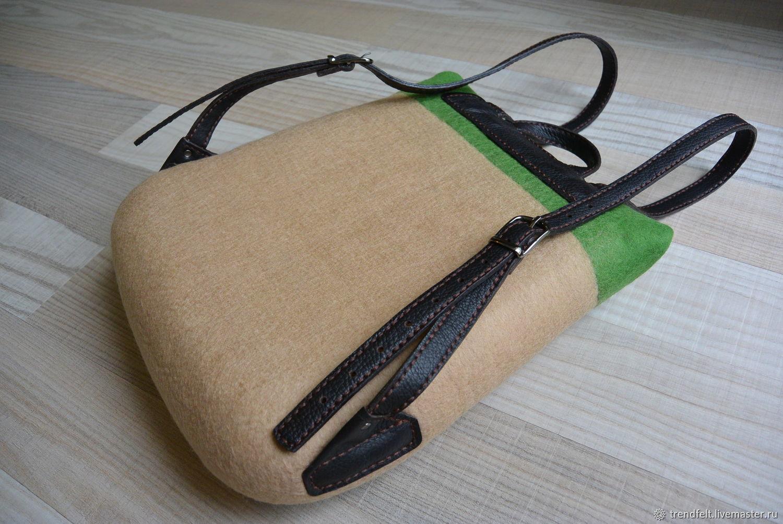 60febad2590f Ольга Рюкзаки ручной работы. Рюкзак валяный 'Грейс', рюкзак войлочный  зеленый яркий.