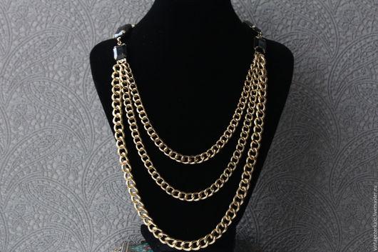 Винтажные украшения. Ярмарка Мастеров - ручная работа. Купить 1970гг Sarah Coventry Трехрядное с Черными кабошонами ожерелье винтаж. Handmade.