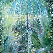 """Картины и панно ручной работы. Ярмарка Мастеров - ручная работа Картина сказочная,волшебная """"Под зонтиком..."""". Handmade."""
