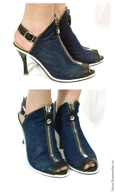 Обувь ручной работы. Ярмарка Мастеров - ручная работа. Купить Женские джинсовые босоножки. Handmade. Синий, босоножки летние, ткань