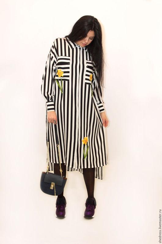 """Платья ручной работы. Ярмарка Мастеров - ручная работа. Купить Для Вас! Дизайнерское платье-рубашка""""Нарцисс"""". Handmade. Чёрно-белый"""