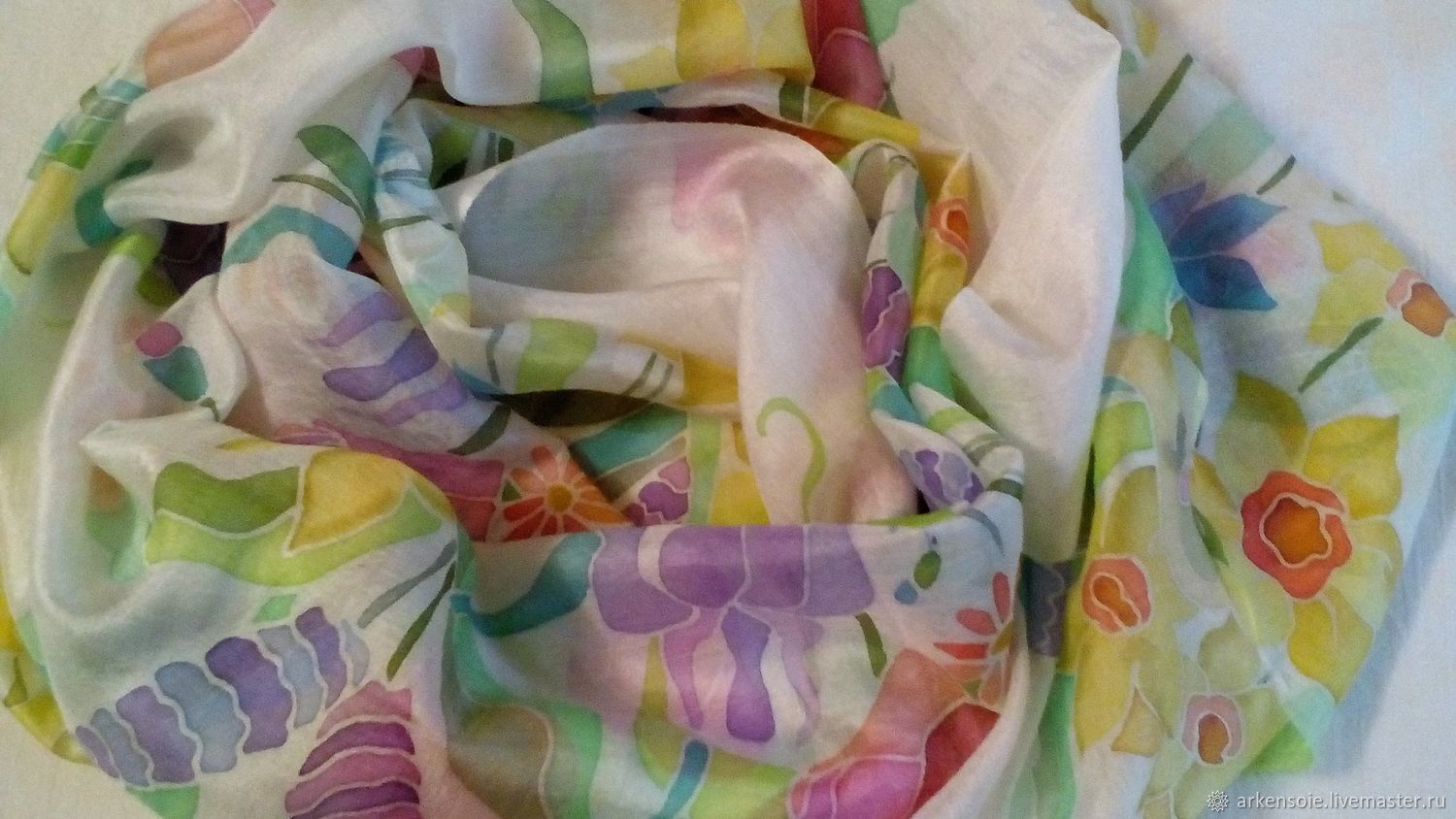 The breath of Summer,a silk scarf handmade,cold batik