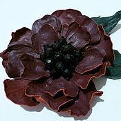 Украшения ручной работы. Ярмарка Мастеров - ручная работа цветок-брошь из кожи. Handmade.