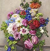 """Картины и панно ручной работы. Ярмарка Мастеров - ручная работа Картина вышитая лентами""""Фламандский букет"""". Handmade."""