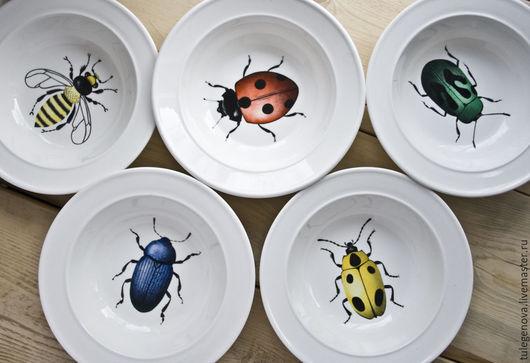 """Тарелки ручной работы. Ярмарка Мастеров - ручная работа. Купить Салатнички """"весенние букашки"""". Handmade. Красный, насекомое, букашки"""