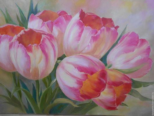 Картины цветов ручной работы. Ярмарка Мастеров - ручная работа. Купить Картина маслом тюльпаны. Handmade. Розовый, весенние цветы