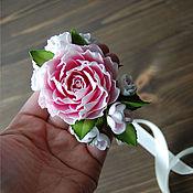 Украшения ручной работы. Ярмарка Мастеров - ручная работа Цветочный браслет с розой и цветами вишни. Handmade.