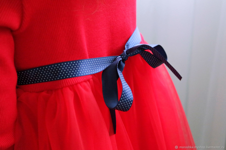Нарядное платье для девочки Красное с фатином