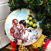 """Подарки к праздникам ручной работы. Ярмарка Мастеров - ручная работа Магнит подарочный в коробочке """"Рождественский Ангел"""". Handmade."""