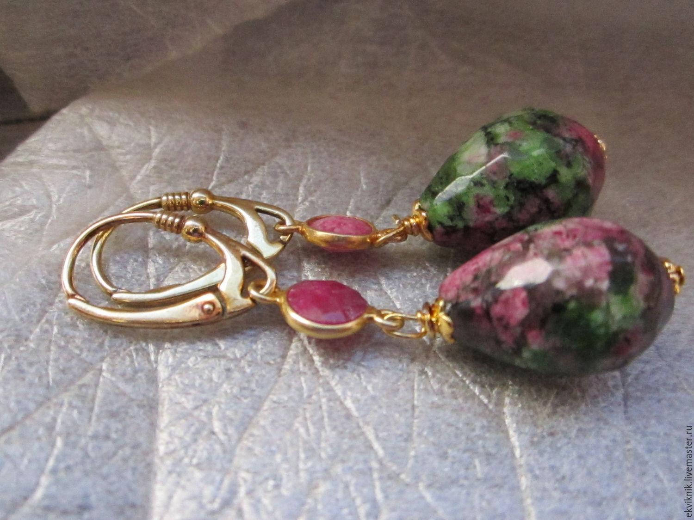 Earrings ruby zoisite with silver ( vermeil), Earrings, Moscow,  Фото №1