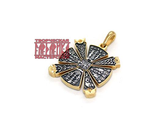 Славянский Крес из серебра с чернением и выборочной позолотой