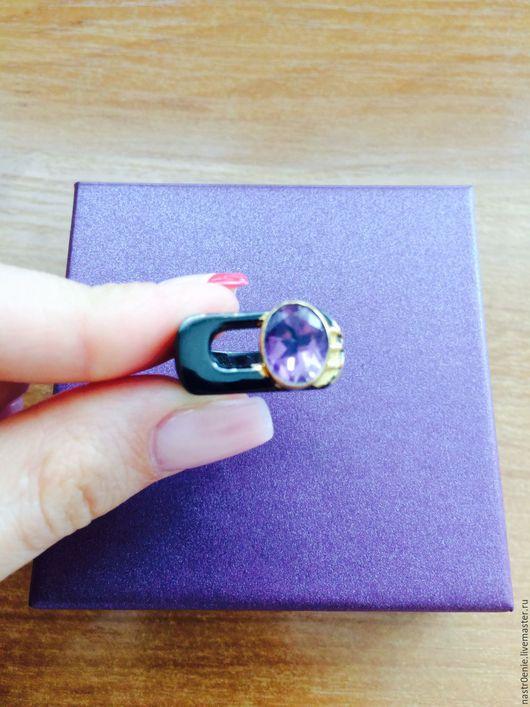 """Кольца ручной работы. Ярмарка Мастеров - ручная работа. Купить Серебряное кольцо с аметистом """"Бамбук"""" в чёрном родии и позолоте. Handmade."""