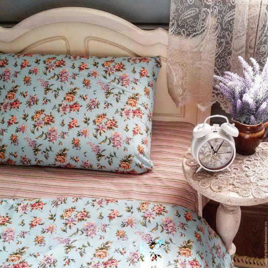 """Текстиль, ковры ручной работы. Ярмарка Мастеров - ручная работа. Купить Комплект постельного белья """"Проснуться в Провансе"""" голубой. Handmade."""