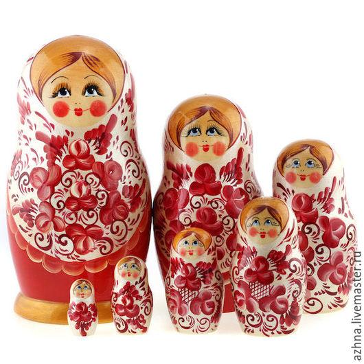 Матрешки ручной работы. Ярмарка Мастеров - ручная работа. Купить Матрешка 7 мест белый сарафан с красными цветами. Handmade.