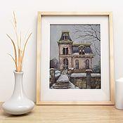 Картины и панно handmade. Livemaster - original item Pastel painting Winter House (beige gray purple snow). Handmade.