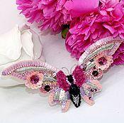 Украшения handmade. Livemaster - original item Embroidered large Pink butterfly brooch. Handmade.