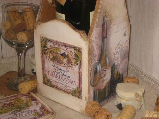 """Корзины, коробы ручной работы. Ярмарка Мастеров - ручная работа. Купить Подставка для вина """" Chardonnay """". Handmade. Бежевый"""