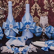 """Аксессуары ручной работы. Ярмарка Мастеров - ручная работа Свыадебные аксессуары """"Голубой набор с бантами"""". Handmade."""
