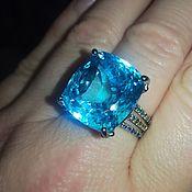 Украшения handmade. Livemaster - original item Quadro ring with natural Topaz and sapphires. Handmade.