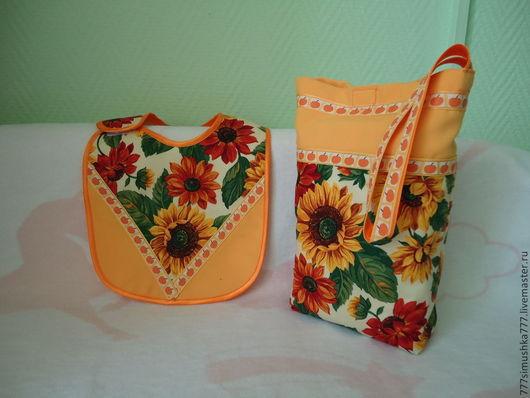 Подарки для новорожденных, ручной работы. Ярмарка Мастеров - ручная работа. Купить Комплект для мамы и крохи: сумочка + нагрудник (7). Handmade.