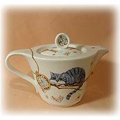 """Посуда ручной работы. Ярмарка Мастеров - ручная работа Заварочный чайник из фарфора """"Время пить чай"""". Handmade."""