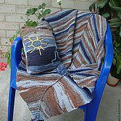 """Для дома и интерьера ручной работы. Ярмарка Мастеров - ручная работа Комплект """"Море и ветер"""" спицами пледик в коляску и подушка. Handmade."""