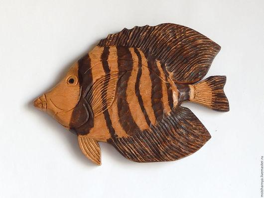 Животные ручной работы. Ярмарка Мастеров - ручная работа. Купить Резное панно Рыба с коричневыми плавниками. Handmade. Бежевый