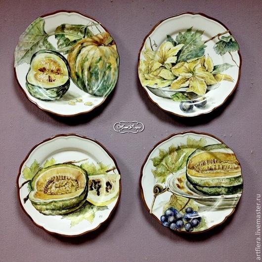 Тарелки ручной работы. Ярмарка Мастеров - ручная работа. Купить Роспись фарфора Коллекция тарелок на стену Тыквы. Handmade. Тарелка