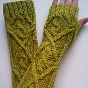 Аксессуары handmade. Livemaster - original item 168 long fingerless gloves, olive. Handmade.
