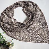 Аксессуары handmade. Livemaster - original item Openwork knitted kerchief beige-brown cotton kerchief. Handmade.
