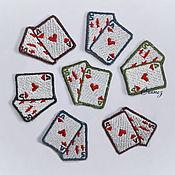 Материалы для творчества handmade. Livemaster - original item applique adhesive embroidered Playing Cards small patch. Handmade.