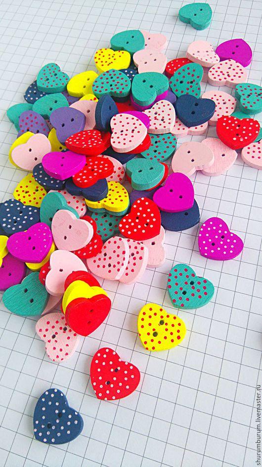 Шитье ручной работы. Ярмарка Мастеров - ручная работа. Купить Пуговицы деревянные сердечки два прокола 1,5 мм. Handmade.
