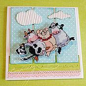 """Для дома и интерьера ручной работы. Ярмарка Мастеров - ручная работа открытка - вышивка """"Весна. И хорошее... настроение!"""". Handmade."""